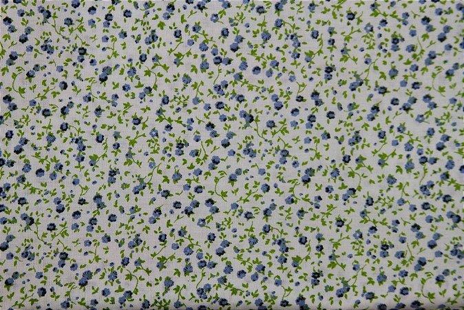 Tecido para Patchwork Floral Miúdo Azul fd. Branco (0,50m x 1,50m)