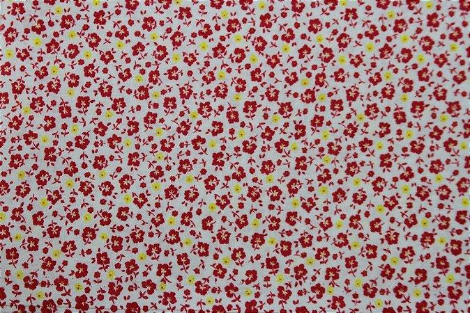 Tecido para Patchwork Floral Miúdo Pink fd. Branco (0,50m x 1,50m)