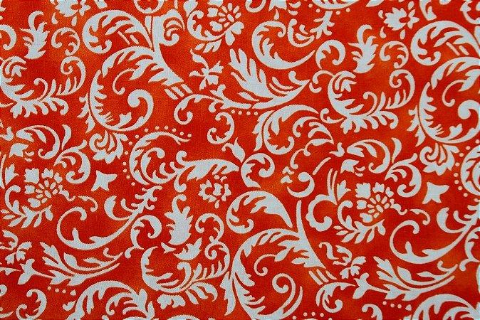 Tecido para Patchwork Arabesco Laranja (0,50m x 1,50m)