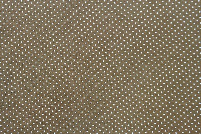 Tecido para Patchwork Poá Azul fd. Marrom (0,50m x 1,50m)