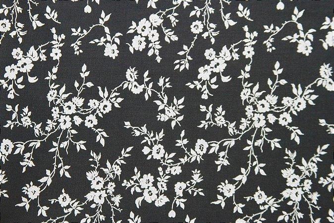 Tecido para Patchwork Floral Branco fd. Preto (0,50m x 1,50m)