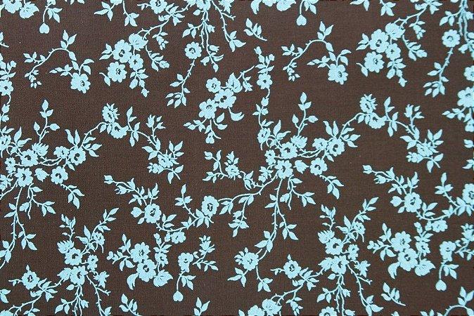 Tecido para Patchwork Floral Verde fd. Marrom (0,50m x 1,50m)