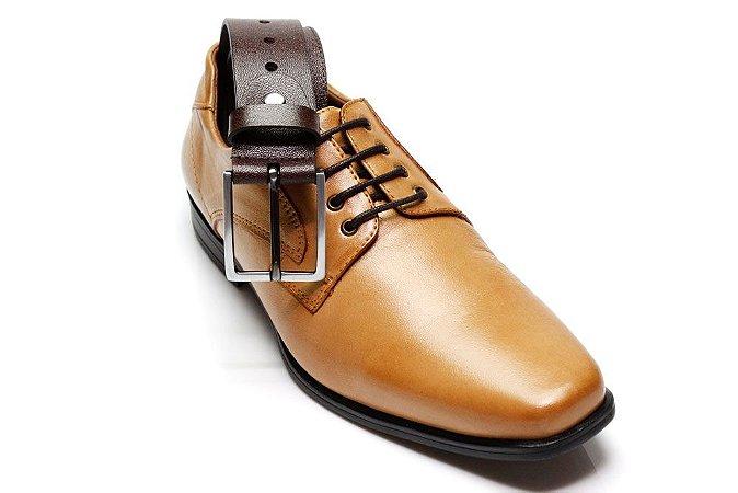 598b315341 Sapato Social Masculino Couro Forrado Em Couro + cinto em couro 7509 Bege