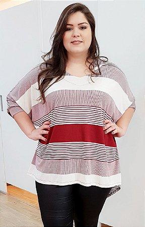 Blusa de Malha em Listras Long Red