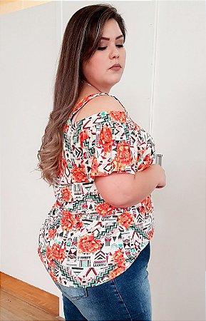 Blusa de Ombros Vazados Orange Mix