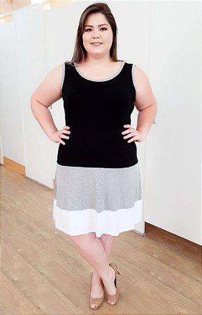 Vestido Preto Cinza e Branco Plus Size