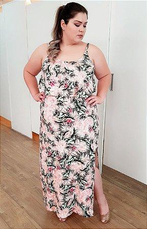 Vestido Longo Tropical de Alcinha com Fenda