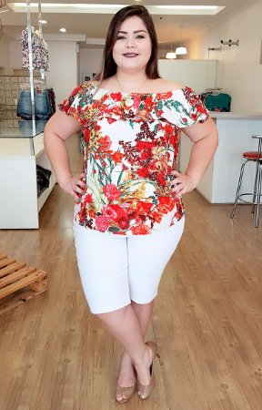 Blusa Ombro a Ombro de Babado Floral Red