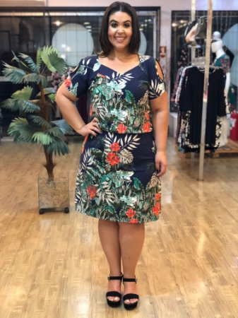 Vestido Fashion Nature com Barrado Floral