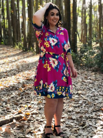 Vestido New Love com Barrado Floral