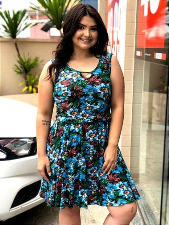 Vestido Estampa Floral Blue Plus Size