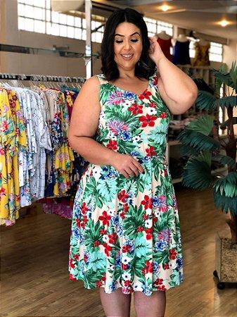 Vestido de Malha Floral Sun Plus Size