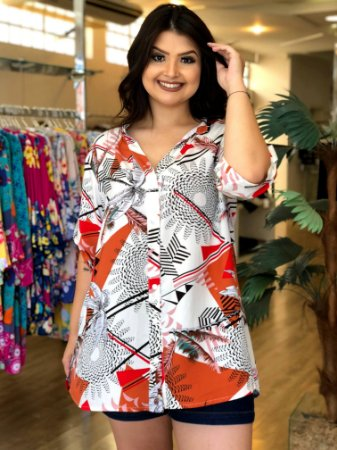 Camisa Geométrica Sweet Orange Plus Size
