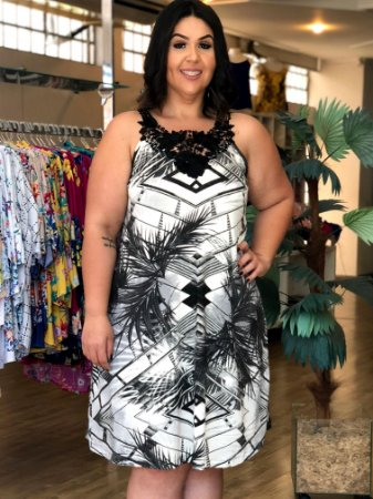 Vestido Emotion Black White com Renda