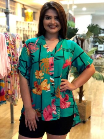 Camisa Love Green Plus Size