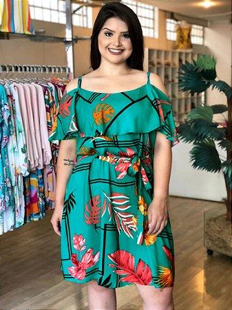Vestido Melissa Green de Alcinha e Babado