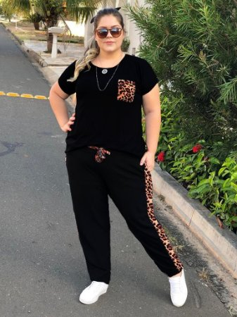 Blusa Jaguar Animal Print Plus Size