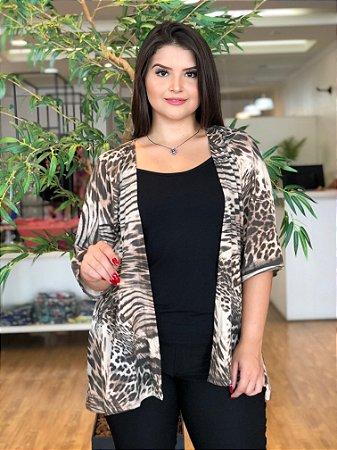 Kimono de Malha Animal Print