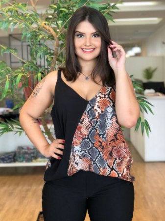 Blusa Snake Animal Print Plus Size