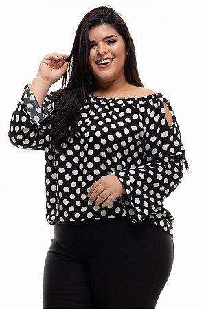 Blusa Class Poá Black Plus Size