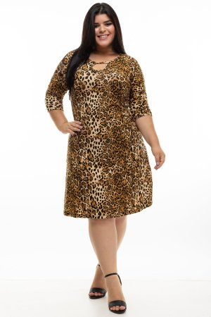 Vestido Animal Print Texas Plus Size