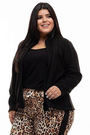 Jaqueta Black Zipper Plus Size