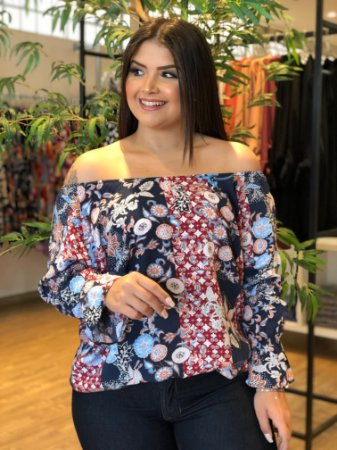 Blusa Ombro a Ombro  Word Plus Size
