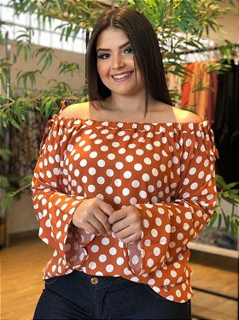 Blusa Poá Orange Plus Size