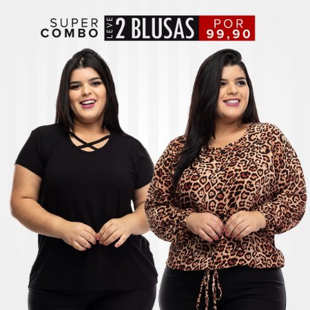 Combo Promocional Leve 2 Blusas Plus Size (Economize R$ 50,00)