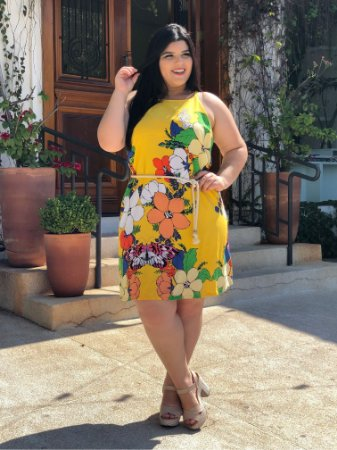 Vestido Floral Yellow Plus Size