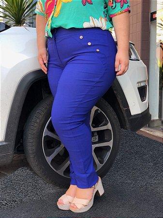 Calça Bengaline Azul com Botões