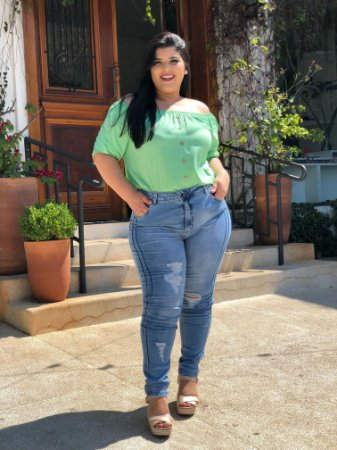 Blusa Aqua Green Plus Size