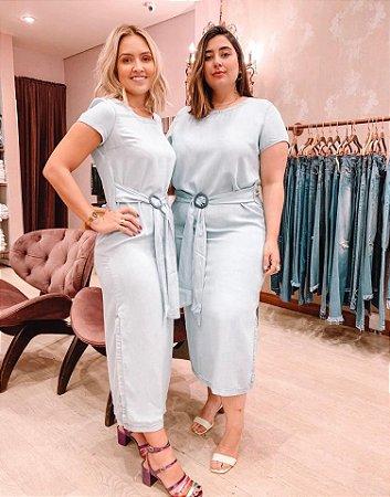 Vestido Midi jeans com Fenda