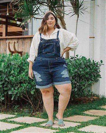 Jardineira jeans Escuro Plus Size