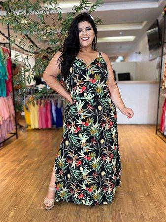 Vestido Longo Floral Abacaxi