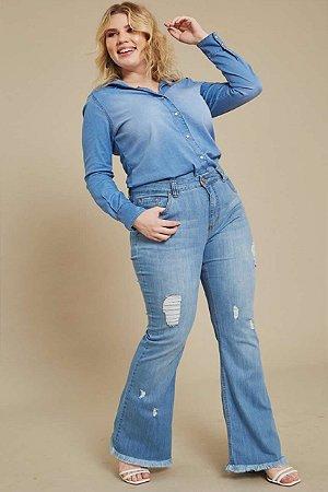 Calça Flare Jeans com Elastano