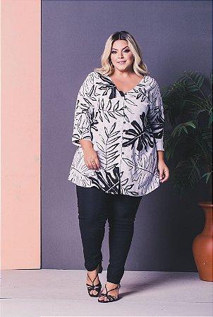 Camisa Soltinha Estampada Plus Size