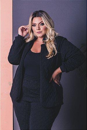 Casaco de Jacquard Black Plus Size