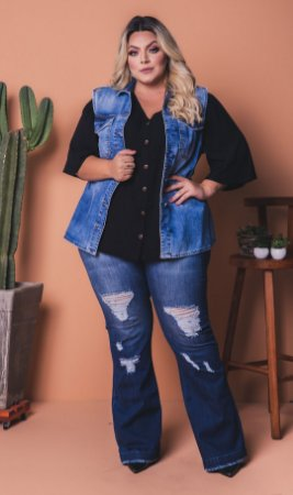 Calça Flare jeans Destroyed Plus Size