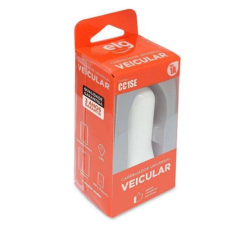 Carregador USB Veicular Universal - 1 Porta USB 1A - Branco - CC1SE
