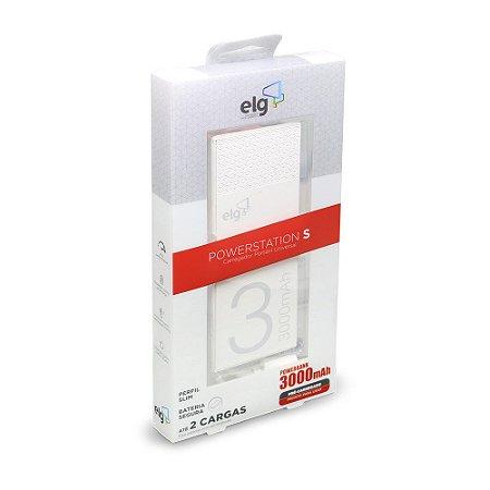 Carregador Portátil Universal 3000mAh com Porta USB e MicroUSB - PowerStation S ELG - PB3 Branco