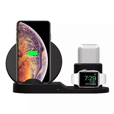 Carregador por Indução Wireless 3 In1 ( iPhone + Apple Watch + Airpods)  H'Maston pro WXC-01