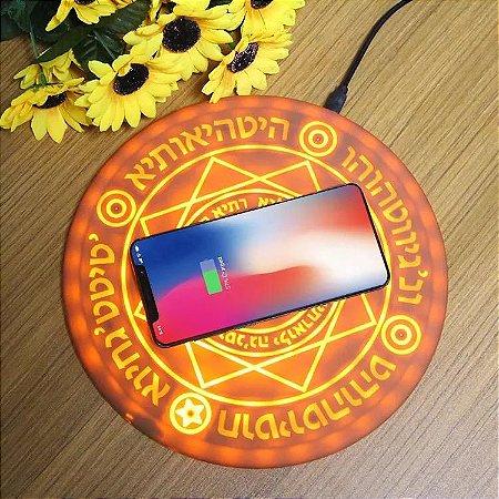 Carregador de Mesa por Indução Wireless 10W - Mandala Iluminado