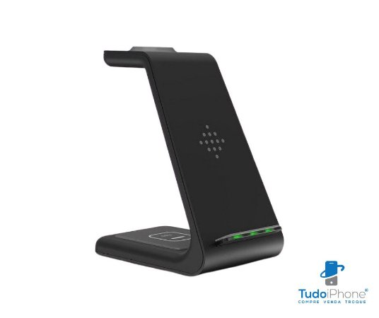 Carregador de Mesa por Indução 3 em 1 ( iPhone / Apple Watch e Airpods) - Wireless - T3 - RohS