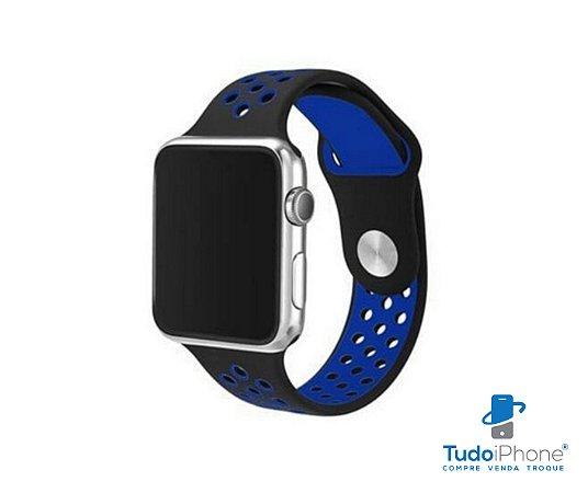 Pulseira Apple Watch - Silicone Esportiva 40/44mm - Azul c/ preto