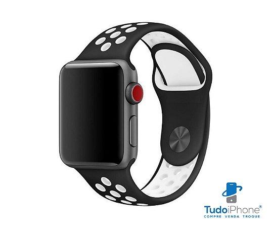 Pulseira Apple Watch - Silicone Esportiva 40/44mm - Preto c/ branco