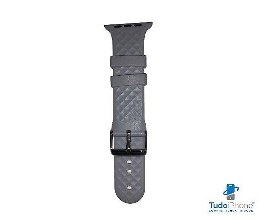 Pulseira Apple Watch - Silicone Tradicional com relevo 42/44mm - Cinza