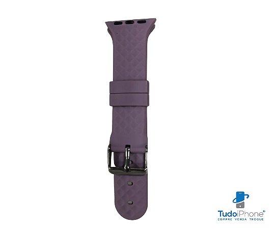 Pulseira Apple Watch - Silicone Tradicional com relevo 38/40mm - Lilás