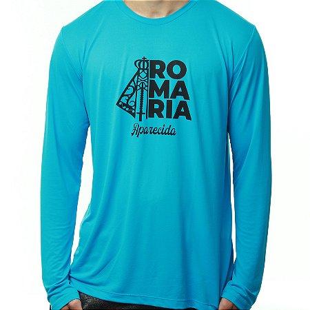 SOB ENCOMENDA - Camiseta Manga Longa ou Baby Look Manga Longa Romaria Running Esporte Monaro Azul