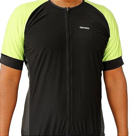 Camisa Ciclismo Masculina Ondas Verde Flúor Comfort Premium Monaro